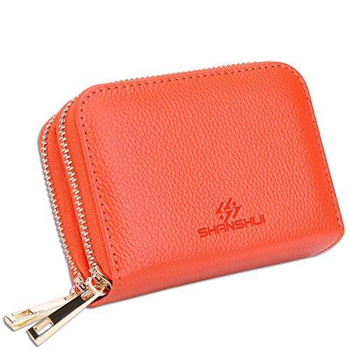 Echtleder Damen Geldtasche mit RFID Schutz, 12 Kartenfächer für Kreidtkarten, Bankkarte, Ausweis(Orange) (Orange Damen-geldbörse)