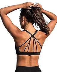 icyzone Yoga Sport-BH Damen Bustier mit Gepolstert - Atmungsaktiv Ohne Bügel Sports Bra Top