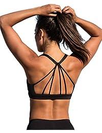 icyzone Sport BH Damen Yoga BH mit Gepolstert - Starker Halt Fitness-Training Strech BH Bustier Push up Top ohne Bügel Sports Bra