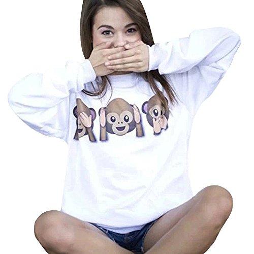 WOCACHI Frauen-Affe Emoji Printed Langarm Pullover Hemd übersteigt Bluse (S, Weiß)