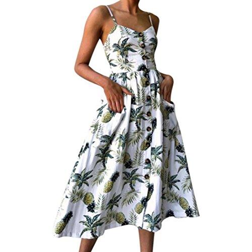 Summer Dress Women Sexy Printing Buttons Sleeveless Mid-Calf Dress Boho Beach Dress Vintage Party Dress (M, White)