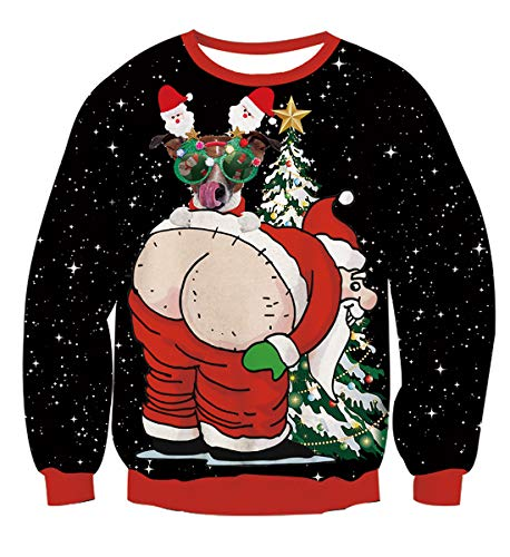 NEWISTAR Sweat Unisexe Homme Femme Pull de Noël Santa Impression S-XXL