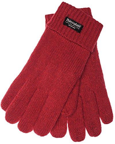 EEM Damen Strickhandschuh JETTE mit Thinsulate™ Thermofutter, warm, 100% Wolle oder 100% Baumwolle, das Material ist Farbabhängig, Winterhandschuh; rot, Größe S