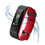Vigorun Fitness Tracker, Tracker di attività schermo colorato con cardiofrequenzimetro, Bluetooth 4.0 IP68 Impermeabile Smart Wristband Pedometro con allarme / Calorie / Monitoraggio del sonno, per Android e iOS (Nero + Rosso)