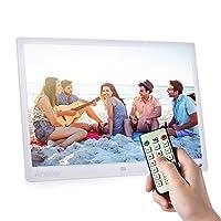 ساعة أونورال 15 بوصة TFT LED الرقمية للصور إطار شاشة عرض ألبوم سطح المكتب صورة 1080P MP4 فيديو MP3 صوت TXT بوك ساعة تقويم 1280 * 800 HD مع جهاز تحكم بالأشعة تحت الحمراء 7 مفتاح لمس