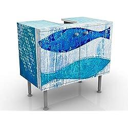 Meuble sous Vasque Design Fish in The Blue 60x55x35cm, Petit, 60 cm de Large, réglable, Table de lavabo, Armoire de lavabo, lavabo, Meuble Bas, Baignoire, Salle de Bains, Armoire de Salle Bains