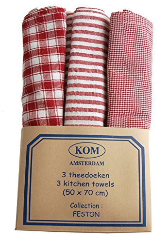 Campagne Table Linen Lot de 3 torchons Rouge