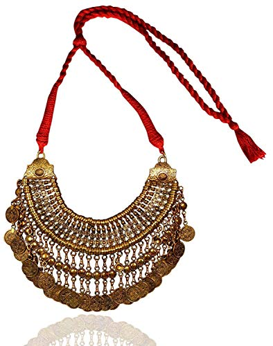 Indian Handicrafts Export Sansar India Boho Gypsy Turkish Style Antique Gold Plated Coins Heavy Necklace for Girls and Women