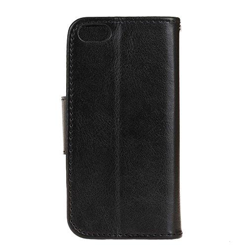 Custodia iPhone 6 Plus / 6s Plus, Cover iPhone 6 Plus / 6s Plus, Alfort 3 in 1 Custodia Protettiva Flip Case Cover per Apple iPhone 6 Plus / 6s Plus 5.5 Smartphone Funzione di Sostegno con Chiusura M Nero