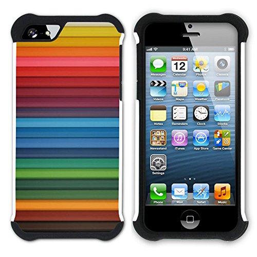 Graphic4You Regenbogen Farben Hart + Weiche Kratzfeste Hülle Case Schale Tasche Schutzhülle für Apple iPhone SE / 5 / 5S Design #29