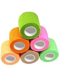 Waykino Tubular Cohesive Bandage 5cm x 4.5m Elastic Self Adhesive Bandage, Pet Vet Wrap Bandaging Tape Assorted Color Pack of 6