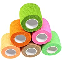 Waykino Vendaje Tubular cohesivo 5 cm x 4,5 m Elástico Autoadhesivo, Cinta de Vendaje para Mascotas Vet Wrap Varios Colores, Paquete de 6