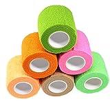 Waykino, nastro elastico autoadesivo per bendaggio, colori assortiti, dimensioni: 5 cm x 4,5 m, confezione da 6 pezzi