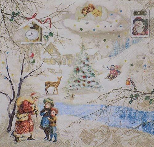 Noël Pays des merveilles blanc beige 3 épaisseurs 20 Papier Serviettes 13 \