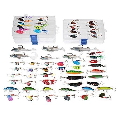 Dr.Fish pêche leurre Job Lot 60 truite perche Spinners Pike cuillers leurre en plastique souple Shad Crankbaits en 5 boîtes d'attirail de pêche