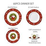 VEWEET, Serie SANTACLAUS, Porzellan Geschirrset, 60 TLG. Tafelservice für 12 Personen, Geschenk für Weihnachten Test