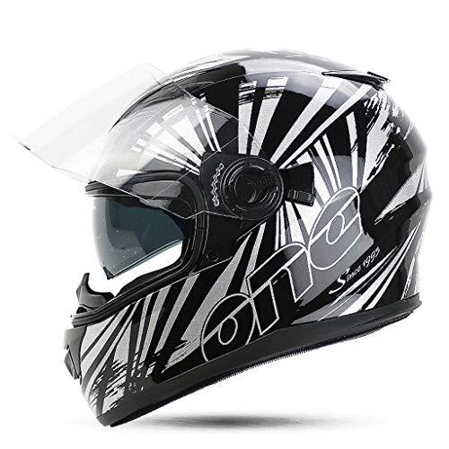 Preisvergleich Produktbild JiaoLiao Abnehmbare Helm Multi-Funktions-Doppellinse Motorrad Männer und Frauen Full Cover Belüftung Design zur Stärkung der Shell (Farbe : Black Silver Phantom,  größe : L)