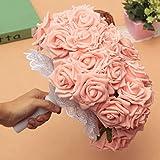LuckyFine 50PCS Schiuma Rosa Bouquet Da Sposa Bouquet Floreale Fiori Artificiali Nuziale Decorazione Wedding 7 Centimetri Rosa Chiaro