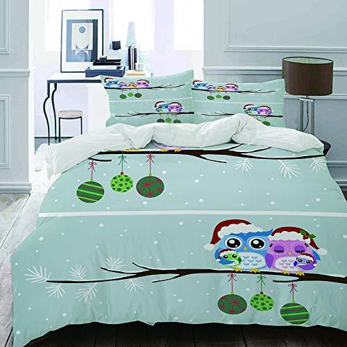 MIGAGA Bettwäsche-Set, Mikrofaser,Weihnachten Owl Family mit Santa Hats auf Baumast mit Babys im Nest-Vogel-schneebedeckten Winter-Druck,1 Bettbezug 200 x 200cm+ 2 Kopfkissenbezug 80x80cm (Baby-vogel-bettwäsche)