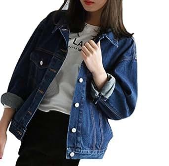 Jeansjacke damen oversize m dchen kurz denim jacket dunkelblau jungen cowboy mantel elegant - Jeansjacke damen oversize ...