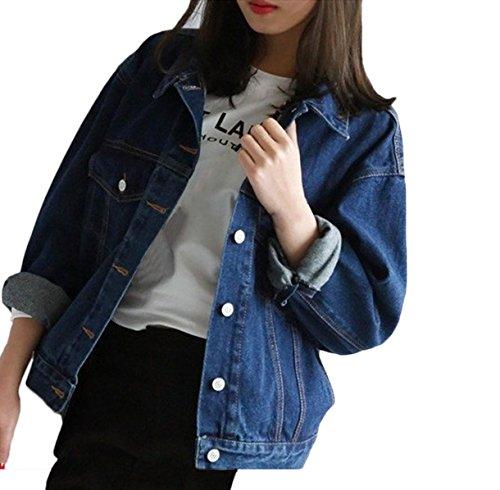 Damen Jeansjacke Herbst Winter Mädchen Denim Jacket Vintage Lose Boyfriend Cowboy Jacken Mode Elegant Blau Langarm Revers Einreihig Beiläufig College Mantel Outwear (Boyfriend Mantel)