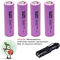 4-Pack18650 2600mAh Rechargeable 3.7V Flat top Battery + LED Flashlight Torch Set