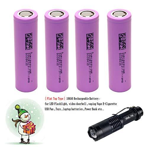4 -Pack 18650 3.7V Wiederaufladbare Akku Li-ion Flat Top Batterie + LED-Taschenlampe Kit ... -