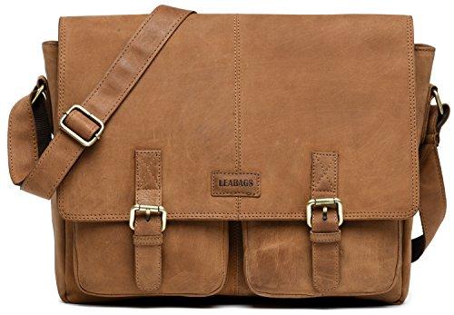 hängetasche Schultertasche Laptoptasche 15 Zoll * 3 Jahre Garantie * aus Echtleder, (LxBxH) ca. 38 x 10 x 31 cm - Braun ()