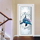 YSFU Wandsticker Türaufkleber 3D Blaue Tür Aufkleber Kinderzimmer Tür Poster Holz Stahltür DIY Renovierung Aufkleber Selbstklebende Kleiderschrank Tapete