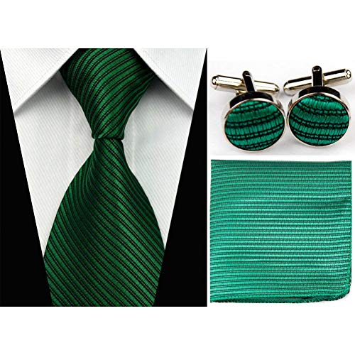 Woxhy cravatta in seta con motivo a righe solido imposta cravatta con fazzoletto hanky accessori cravatta per uomo rosso in argento con cravatta nera gravata