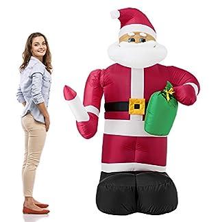 [lux.pro] Papá Noel hinchable con brazo móvil y LED brillantes – 193cm