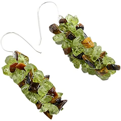 Silvesto India peridoto Chips And Brown Tiger Eye-Orecchini in argento Sterling 925, per donna 4261 PG
