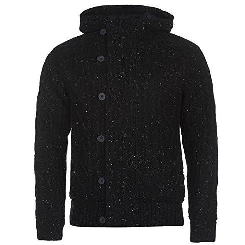 Firetrap Mens Lined Knit Cardigan Hooded Jumper Long Sleeve Button