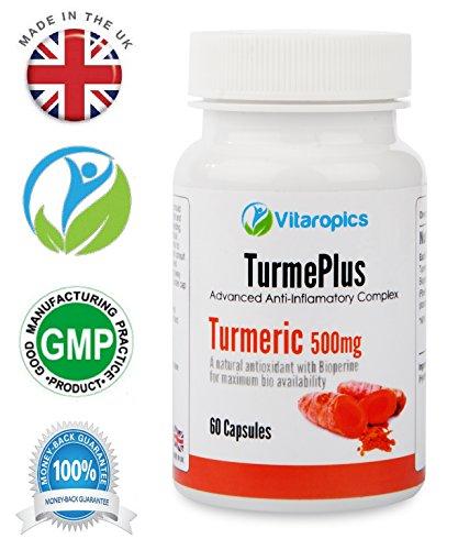 Vitaropics TurmePlus – Kurkuma Kapseln mit Schwarzem Pfeffer | Natürliche Organische Kurkuma und Bioperine für Maximale Absorption | Schmerzmittel & Unterstützung durch die Erweiterte Entzündungshemmende Wirkung | Für Vegetarier & Veganer geeignet | Hergestellt in GB