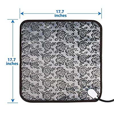 Pet Heating Pad Dog Bed Mats Cat Bed Heated Pad Waterproof Anti Chew Cord With Variable Heat Control and UK Plug Low Voltage Electrically Heated Pet Pad for New Born Pups and Kittens or Bunny(45x45cm) by ZhiQli