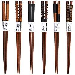 Gosear 6 Pares Palillos japoneses, caseros de Madera Natural del Japonés-Estilo Antideslizante vajilla del Regalo del Palillos fijado con la línea Atada