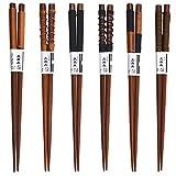 Gosear 6 paia Casa Naturale In Legno Stile Giapponese Antiscivolo Bacchette Regalo Set da Tavola con la linea Legata