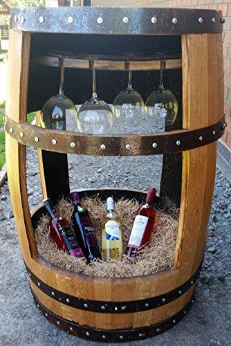 Die Charlotte recycelten Whisky Cask Getränke Tisch mit Glas Halter