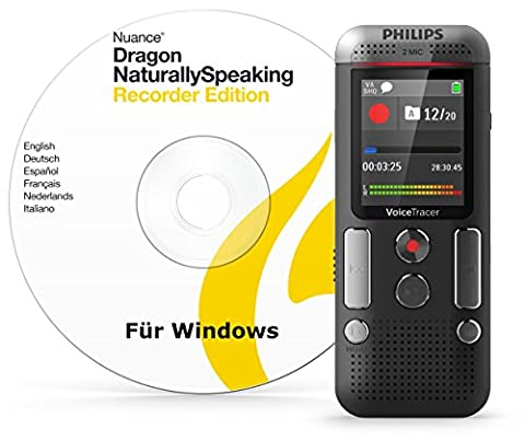 Philips DVT2710 Digitales Diktiergerät inkl. Spracherkennungs-Software f. Windows, kompaktes Aufnahmegerät, mp3 Recorder, Farbdisplay, 8 GB Speicher, USB-Anschluss, Plug & Play, Anthrazit