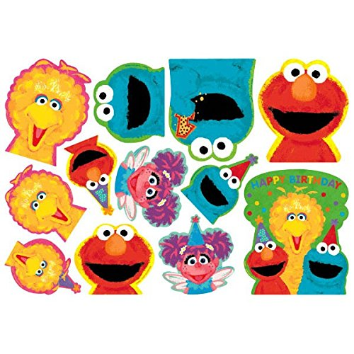 Amscan Sesame Street 1st Birthday Value Pack Cutouts Party Supplies, Large, Yellow/Blue/Red/Green by (Sesame Party Street Supplies Birthday)