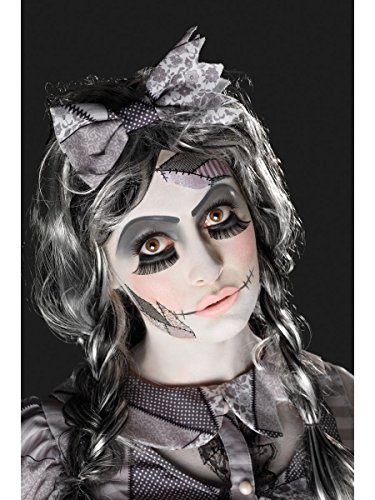 Smiffys Make Up Set zerstörte Horror Puppe Schminke Tattoo Wimpern Halloween