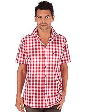 orbis Textil OS-Trachten Trachtenhemd 921000-3052 Karo Halbarm Rot