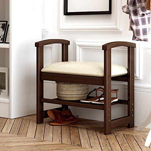LJHA Tabouret pliable Tabouret créatif en bois solide/tabouret de stockage de selles de sofa de salon/tabouret de chaussures de changement de porte chaise patchwork (Couleur : Marron)