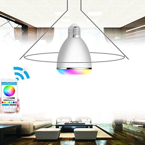 BAZAAR AC100-240V E279W Dimmable minuterie Bluetooth Musique Haut-parleur Couleur modifiable LED Smart ampoule