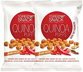 The Green Snack Quinoa Puffs Fiery Spice (Pack of 2) 50g each [Roasted & Healthy snacks]