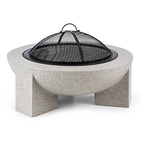 Blumfeldt Troja Fogata de leña para jardín • Diametro 75 cm • Piedra Artificial • Resistente al Calor y Fuego • Parrilla para barbacoas, asados y Grill • Fogón Carbón o leña • Brasero
