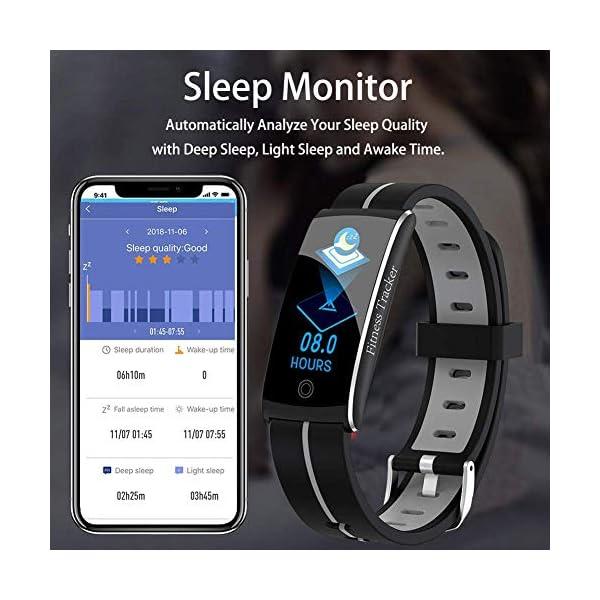Wysgvazgv Fitness Tracker Reloj pulsera Activity Tracker pulsómetro de muñeca monitor del sueño presión sanguigna IP68… 5