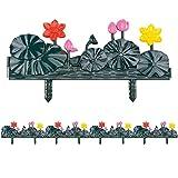sungmor 4Stück Garten Lattenzaun, 252cm Lotus Design Kunststoff Einfassungen, Gras Rasen Beeten Pflanze Grenzen, Landschaft Weg Platten