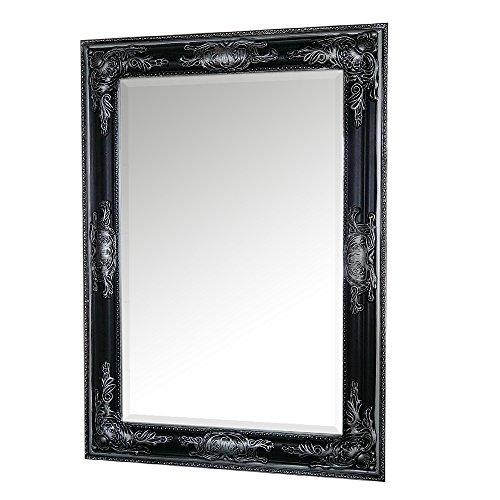 LEBENSwohnART Wandspiegel BESSA-XS Schwarz-Silber 70x50cm Barock Antik Spiegel Facette