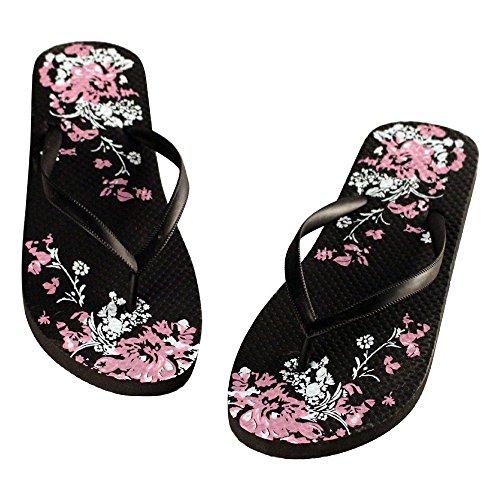 Eastlion Frauen und Mädchen Mode Druck Sommer Hausschuhe Flip Flops Strings Strand Hausschuhe Schuhe Schwarz